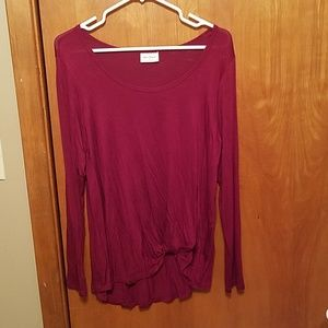 Maroon long sleeve with knotted front